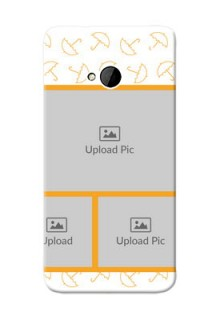 HTC Desire One M7 Yellow Pattern Mobile Back Cover Design