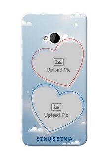 HTC Desire One M7 couple heart frames with sky backdrop Design