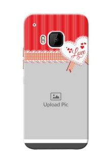 HTC Desire One M9 Red Pattern Mobile Cover Design