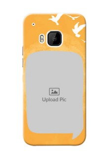 HTC Desire One M9 watercolour design with bird icons and sample text Design