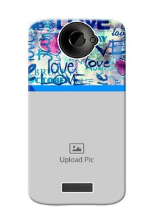 HTC Desire One X+ Colourful Love Patterns Mobile Case Design