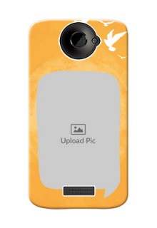HTC Desire One X+ watercolour design with bird icons and sample text Design Design