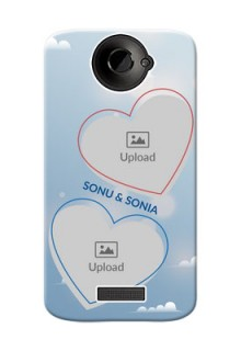 HTC Desire One X couple heart frames with sky backdrop Design