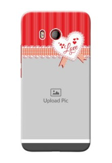HTC U11 phone cases online: Red Love Pattern Design