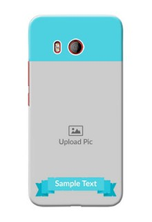 HTC U11 Personalized Mobile Covers: Simple Blue Color Design