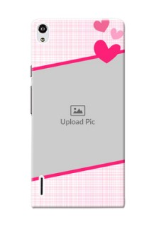 Huawei Ascend P7 Pink Design With Pattern Mobile Cover Design