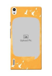 Huawei Ascend P7 watercolour design with bird icons and sample text Design Design