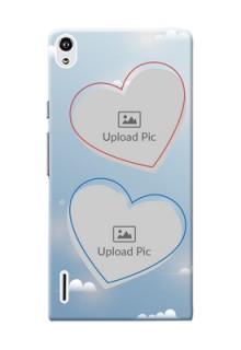 Huawei Ascend P7 couple heart frames with sky backdrop Design
