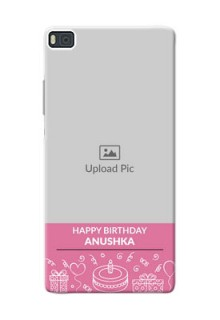 Huawei Ascend P8 plain birthday line arts Design Design
