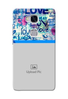 Huawei Honor 5X Colourful Love Patterns Mobile Case Design