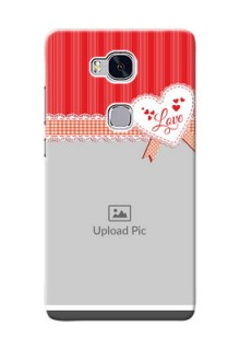 Huawei Honor 5X Red Pattern Mobile Cover Design