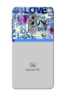 Huawei Honor 6X Colourful Love Patterns Mobile Case Design