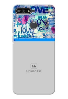 Huawei Honor 7A Colourful Love Patterns Mobile Case Design