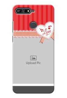 Huawei Honor 7A Red Pattern Mobile Cover Design