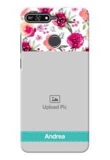 Huawei Honor 7A watercolour floral design with retro lines pattern Design