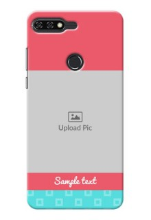 Huawei Honor 7C Pink And Blue Pattern Mobile Case Design