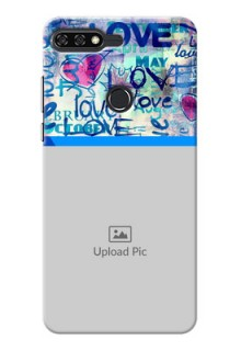 Huawei Honor 7C Colourful Love Patterns Mobile Case Design