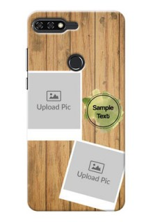 Huawei Honor 7C 3 image holder with wooden texture  Design