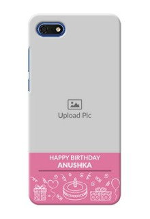 Huawei Honor 7s Custom Mobile Cover with Birthday Line Art Design
