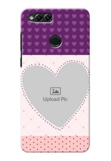 Huawei Honor 7x Violet Dots Love Shape Mobile Cover Design