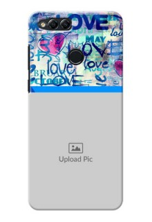 Huawei Honor 7x Colourful Love Patterns Mobile Case Design