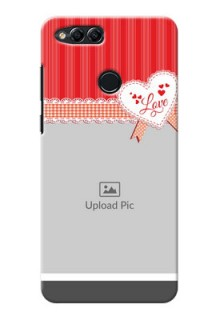 Huawei Honor 7x Red Pattern Mobile Cover Design