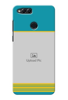Huawei Honor 7x Yellow And Blue Pattern Mobile Case Design