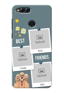 Huawei Honor 7x 3 image holder with sticky frames and friendship day wishes Design