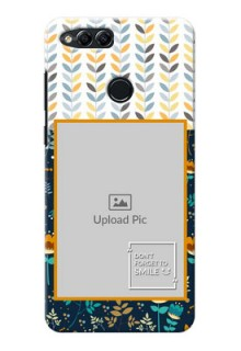 Huawei Honor 7x seamless and floral pattern design with smile quote Design