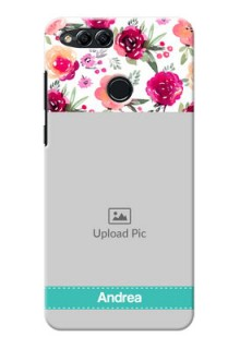 Huawei Honor 7x watercolour floral design with retro lines pattern Design