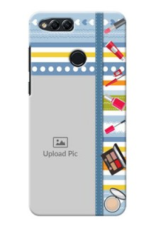 Huawei Honor 7x hand drawn backdrop with makeup icons Design
