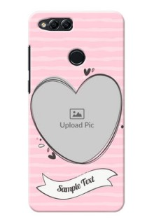 Huawei Honor 7x seamless stripes with vintage heart shape Design