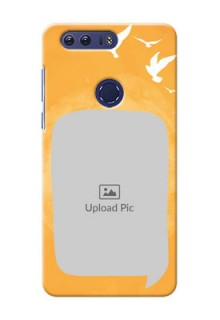 Huawei Honor 8 watercolour design with bird icons and sample text Design Design