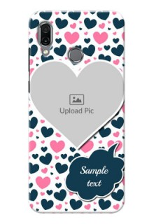 Huawei Honor Play Mobile Covers Online: Pink & Blue Heart Design
