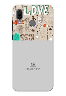 Huawei Honor Play Personalised mobile covers: Love Doodle Pattern