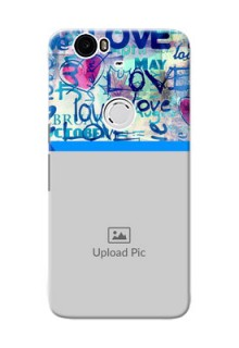 Huawei Nexus 6P Colourful Love Patterns Mobile Case Design