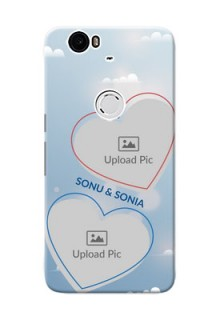 Huawei Nexus 6P couple heart frames with sky backdrop Design