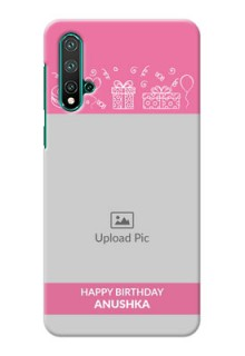 Huawei Nova 5 Pro Custom Mobile Cover with Birthday Line Art Design
