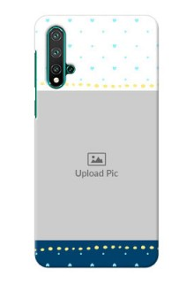 Huawei Nova 5 Phone Covers: White and Blue Abstract Design