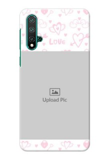 Huawei Nova 5 personalized phone covers: Pink Flying Heart Design