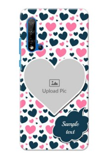 Huawei Nova 5i Mobile Covers Online: Pink & Blue Heart Design