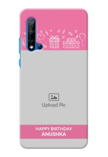 Huawei Nova 5i Custom Mobile Cover with Birthday Line Art Design