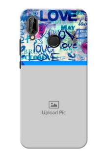 Huawei P20 Lite Colourful Love Patterns Mobile Case Design
