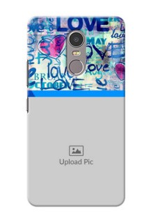 Lenovo K6 Note Colourful Love Patterns Mobile Case Design