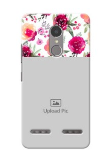Lenovo Vibe K6 Power watercolour floral design with retro lines pattern Design