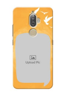 Lenovo K8 Plus watercolour design with bird icons and sample text Design
