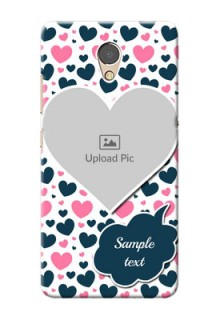 Lenovo P2 Mobile Covers Online: Pink & Blue Heart Design