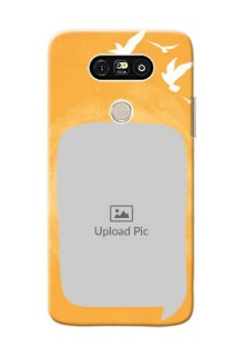 LG G5 watercolour design with bird icons and sample text Design