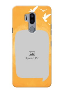 LG G7 Plus Phone Covers: Water Color Design with Bird Icons