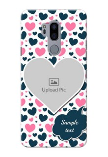 LG G7 Thinq Mobile Covers Online: Pink & Blue Heart Design